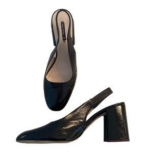 Zara sling block heels black patent round size 39
